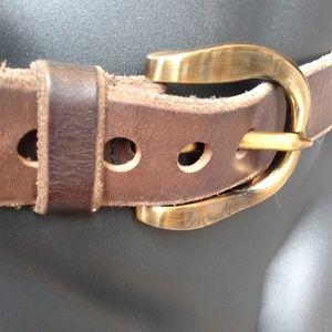 Dolce & Gabbana Accessories - Dolce & Gabbana Belt Brass Buckle Brown Leather